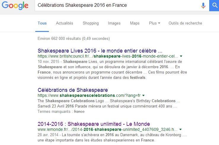 Célébrations Shakespeare 2016 en France Recherche Google - Rognée