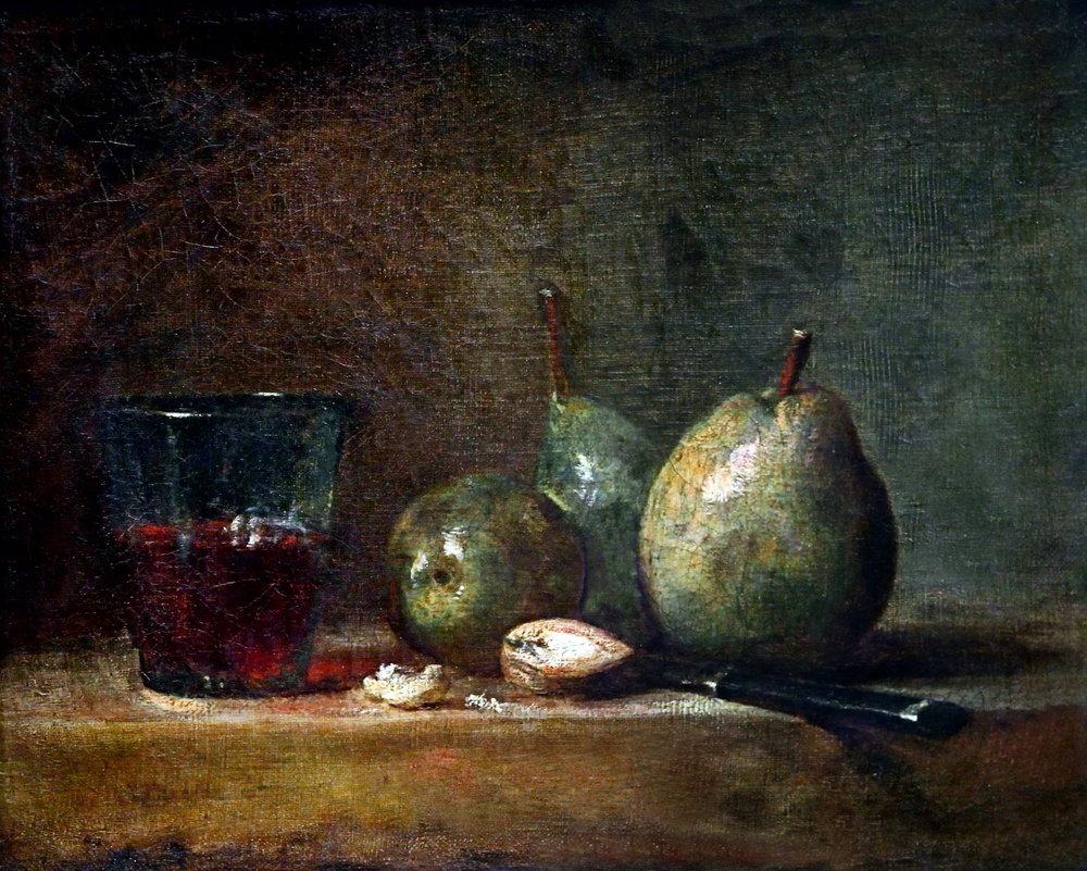 Jean-Siméon Chardin, Poire, noix et verre de vin, 1768, Louvre