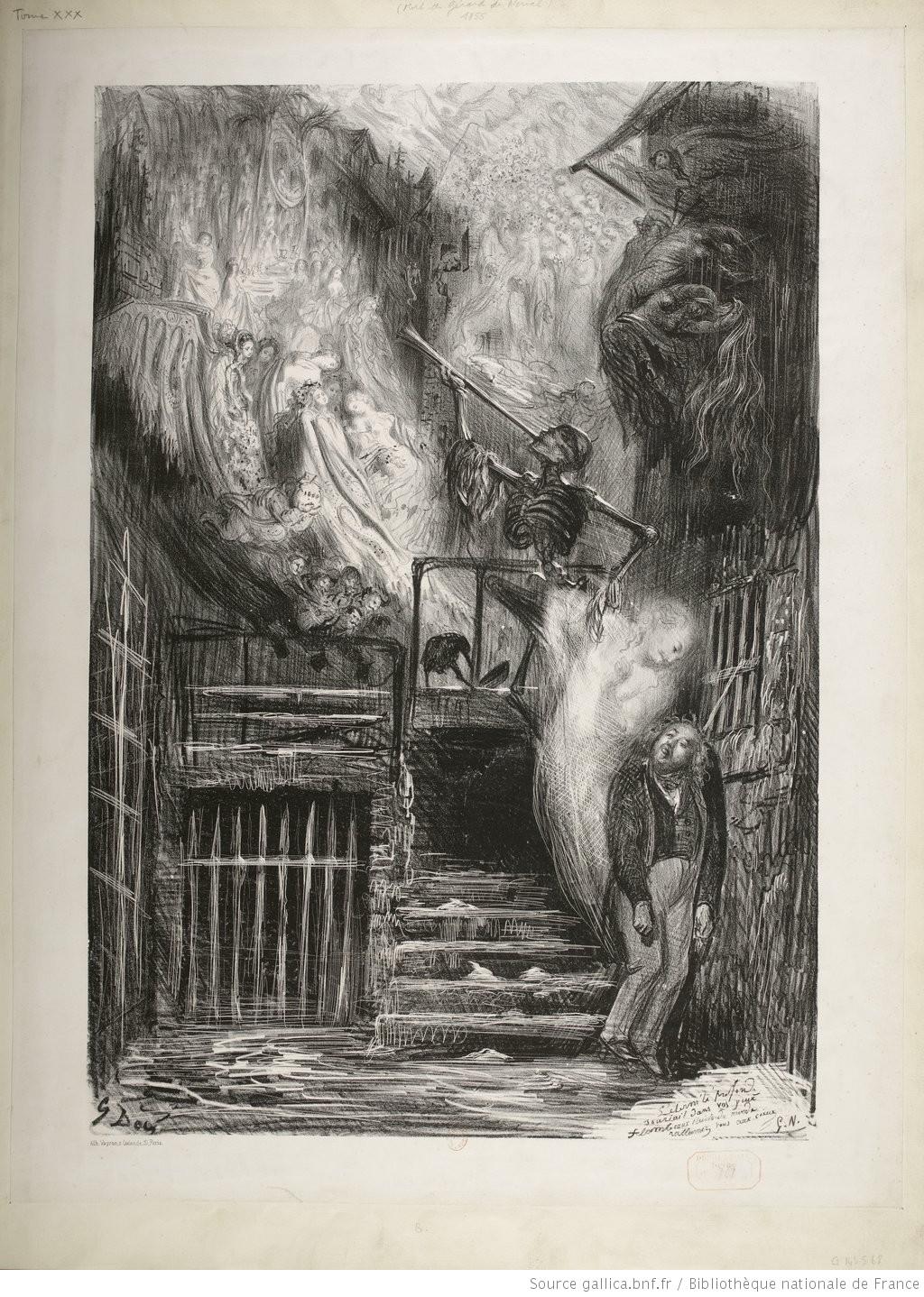 Allégorie sur la mort de Gérard de Nerval, estampe par Gustave Doré