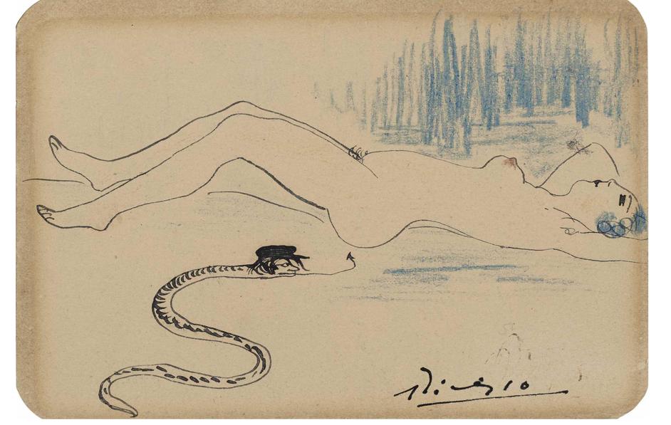 Pablo Picasso, Nu et serpent, 1902