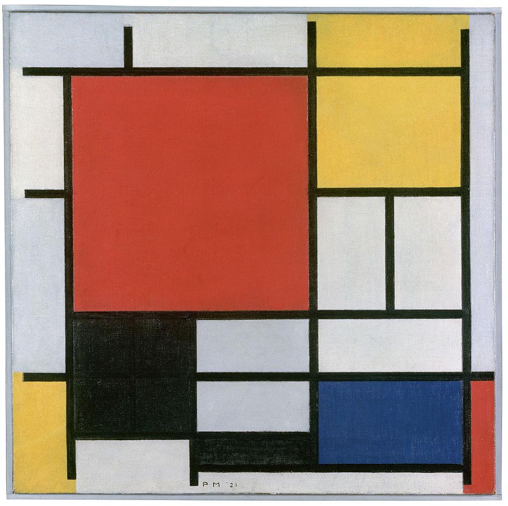 Composition en rouge, jaune, bleu et noir, Piet Mondrian